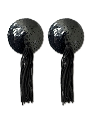 BLACK TASSEL PASTY WITH BLACK SEQUINS