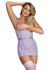 LAVENDER LACE CUPLESS CHEMISE - ALL SIZES