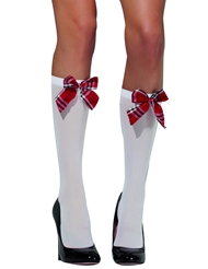 Alternate front view of SCHOOL GIRL OPAQUE KNEE HIGH SOCKS