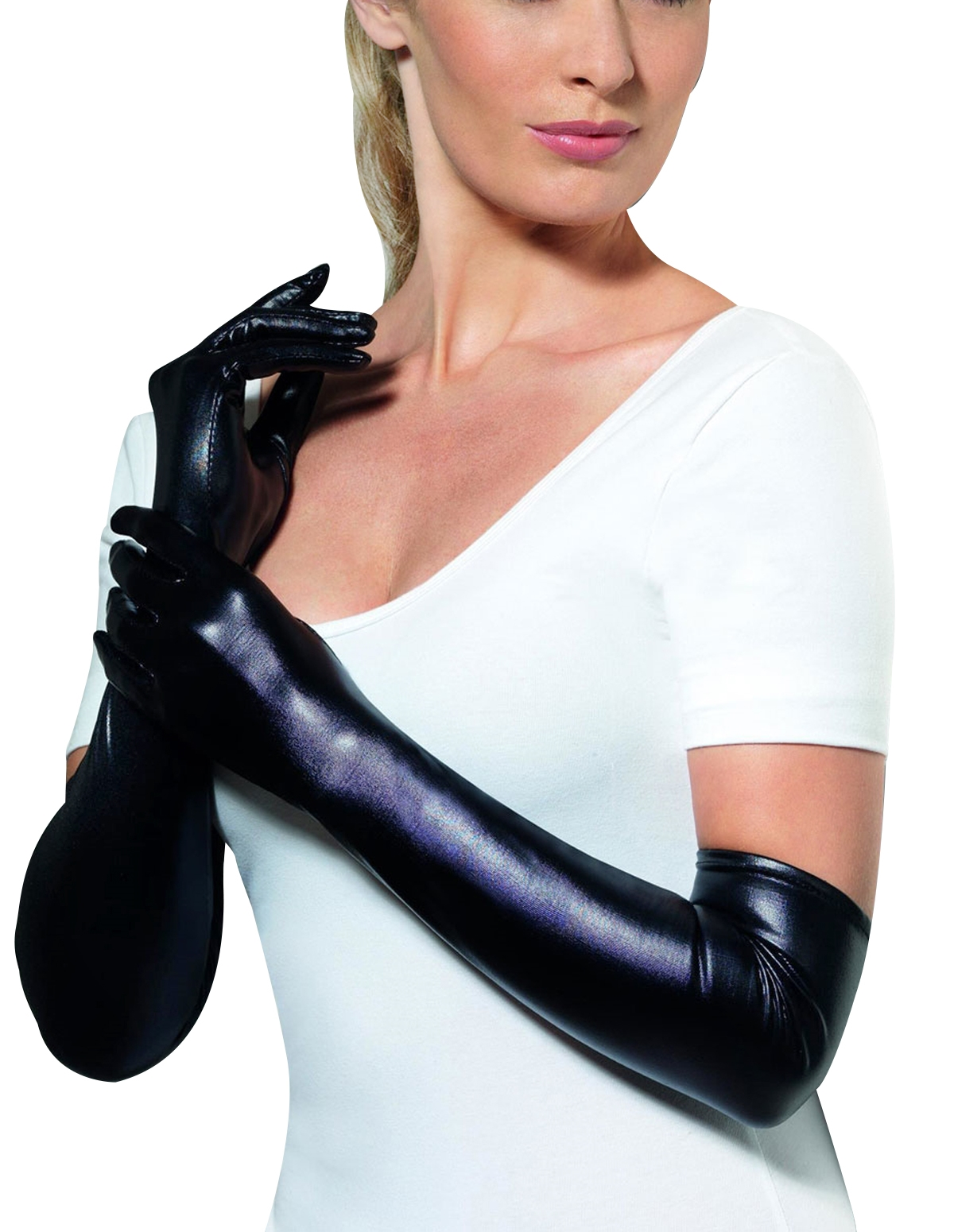 Elbow Length Wet Look Gloves
