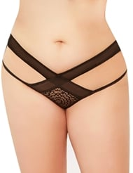 SULTRY STRAPPY PLUS SIZE CROTCHLESS PANTY