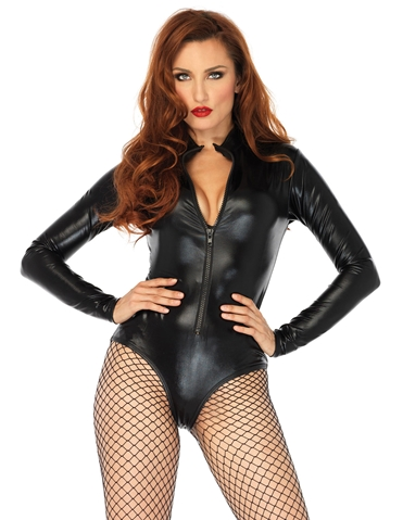 WET LOOK ZIP-UP BODYSUIT
