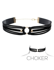 SUEDE & LEATHER CHOKER BLACK/GOLD