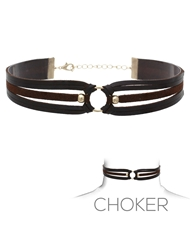 SUEDE & LEATHER CHOKER BLACK/BROWN