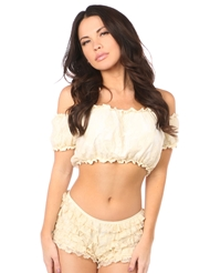 LINED LACE SHORT SLEEVE TOP - ALL SIZES