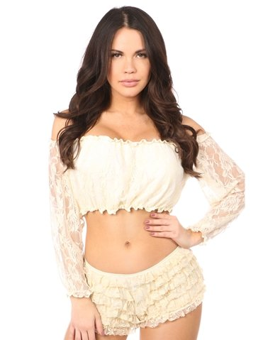 LINED LACE LONG SLEEVE TOP