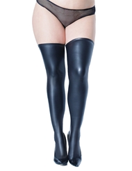 Alternate front view of MATTE WET LOOK STAY UP STOCKINGS