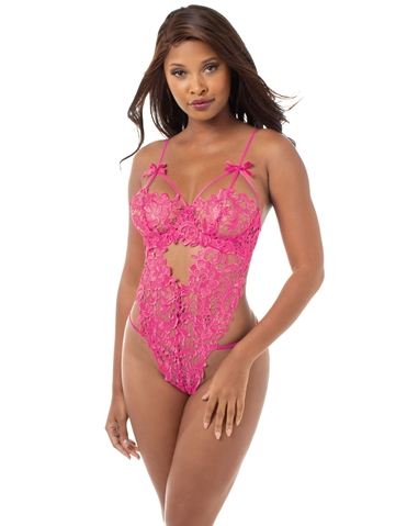 PRETTY PINK VENICE LACE TEDDY