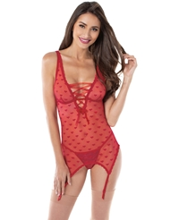 LACE UP HEART JACQUARD BUSTIER CHEMISE