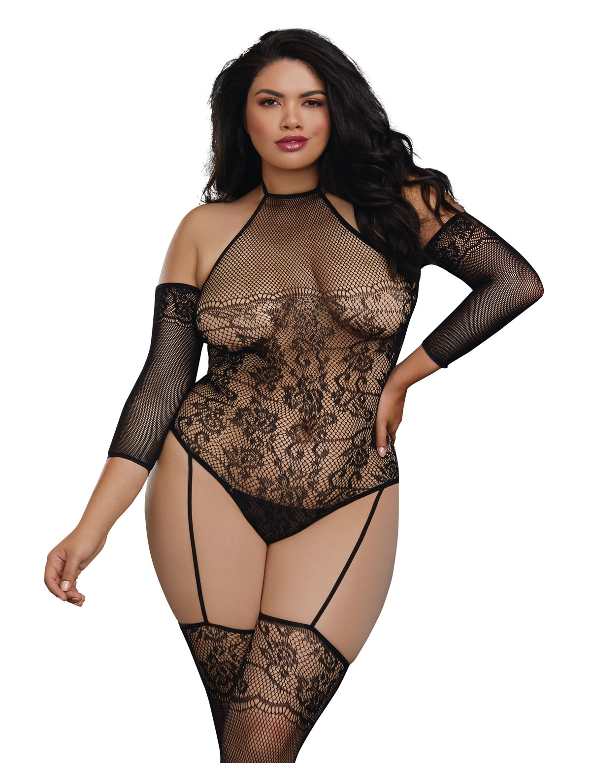 Sex Pot Fishnet Teddy - Plus