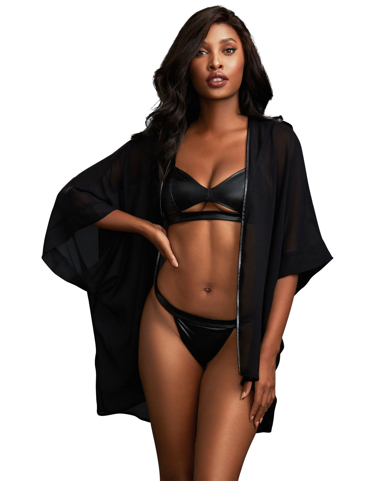 Wet Look Bra Set & Chiffon Robe