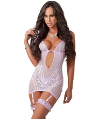 GARTER LACY CHEMISE WITH SIDE CUTOUTS