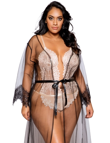 BARELY THERE LONG SHEER ROBE - PLUS