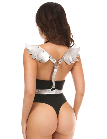 VEGAN LEATHER BODY HARNESS WITH WINGS