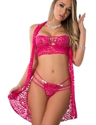 3PC LACED LINGERIE SET & COVER UP SLIP