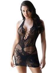 LACY FISHNET HALTER BODYSTOCKING DRESS - ALL SIZES