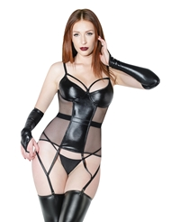 WET LOOK AND FISHNET BUSTIER