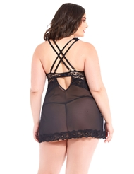 LEOPARD MESH AND LACE PLUS SIZE BABYDOLL