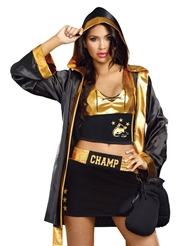 Alternate front view of WORLD CHAMPION BOXER COSTUME - WOMEN'S