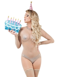 Alternate front view of BIRTHDAY SUIT COSTUME W/CAKE CLUTCH