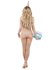 Alternate back view of BIRTHDAY SUIT COSTUME W/CAKE CLUTCH