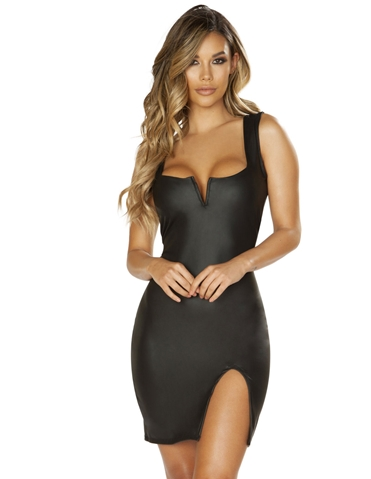 LEATHER LOOK DRESS WITH V-WIRE DETAIL & SLIT
