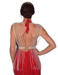 Alternate back view of HIGH NECK LAYERED PEARL BODY CHAIN