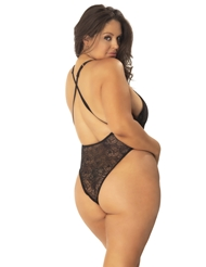 LACE TEDDY WITH FIXED FRONT LACE UP DETAIL