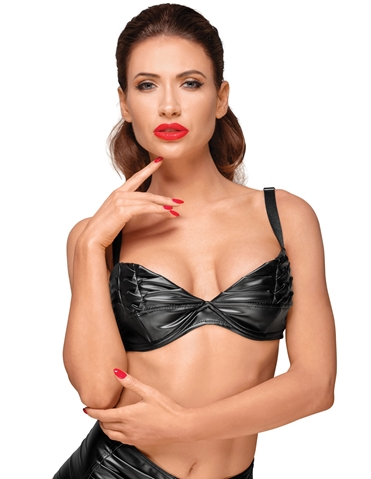POWER WET LOOK BRA WITH HANDMADE PLEATS