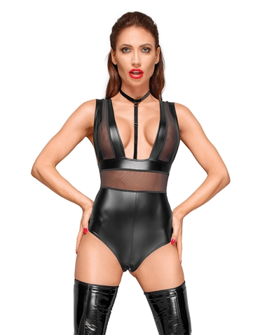 POWER WET LOOK BODY SUIT WITH TULLE INSERTS