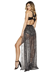 MULTIPLE CUTOUT ROMPER WITH ATTACHED LONG SHEER SEQUIN SKIRT