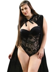 EMMY LACE & MESH HOODED CAPE - PLUS SIZE