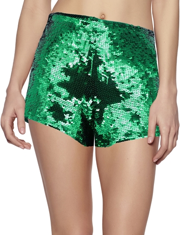 GREEN SEQUIN SHORTS WITH ZIPPER