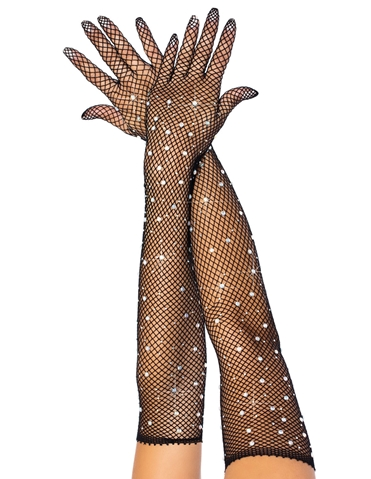 RHINESTONE FISHNET OPERA LENGTH GLOVES