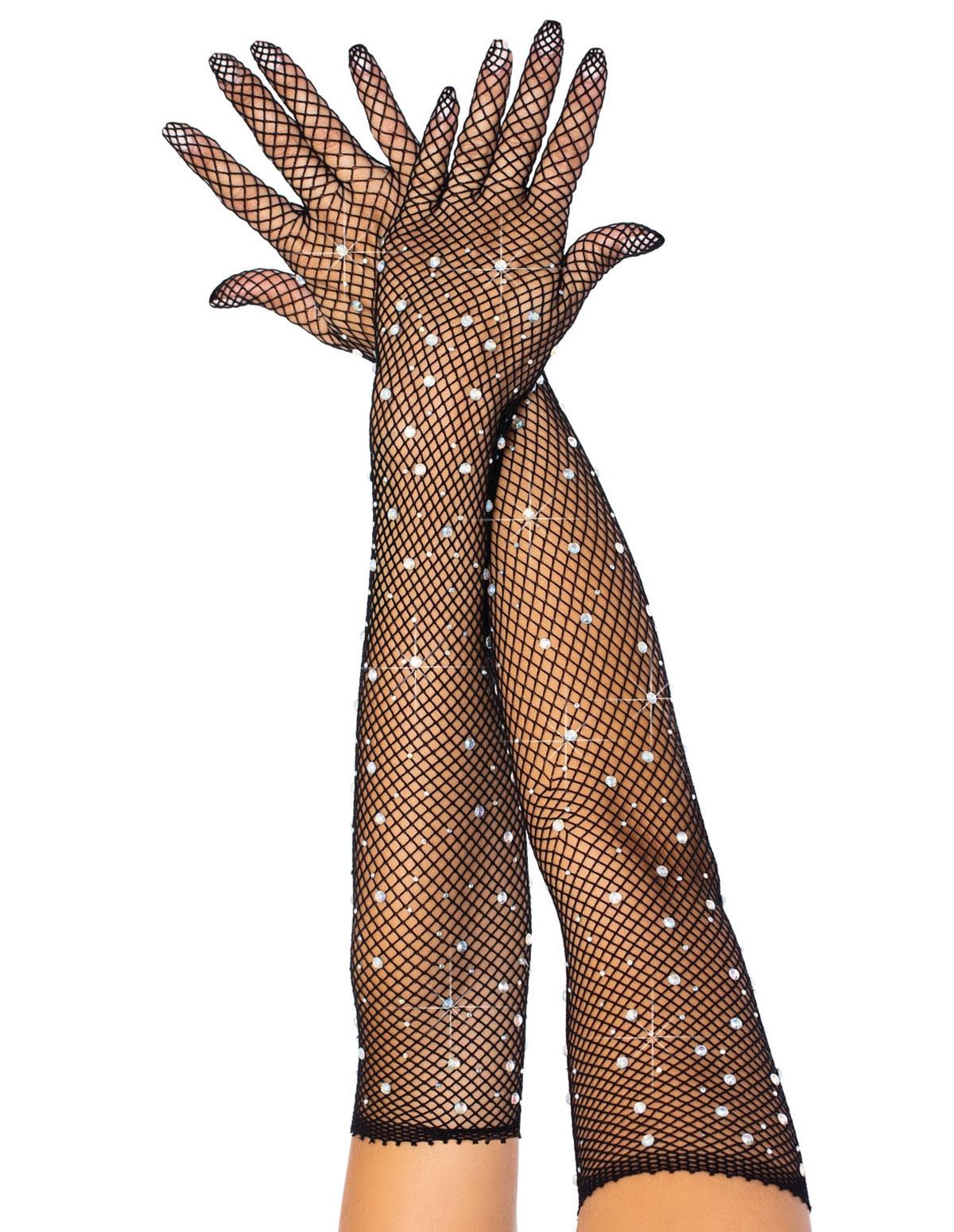 Rhinestone Fishnet Opera Length Gloves