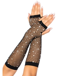 Alternate front view of RHINESTONE FISHNET ARM WARMERS