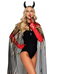 Alternate front view of 2PC SHEER GLITTER FLAME DEVIL CAPE
