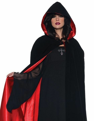 63 INCH DELUXE VELVET AND RED SATIN CAPE WITH HOOD