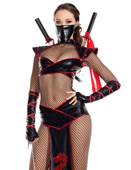 Alternate front view of ALLURING ASSASSIN FISHNET BODY SUIT