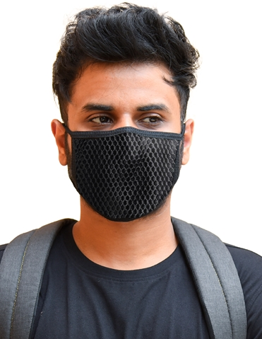 BLACK MESH WASHABLE MASK