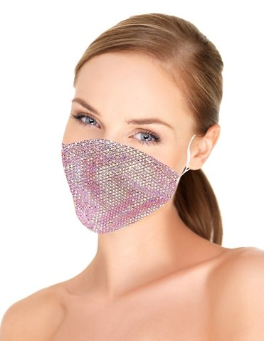 ROSE GOLD RHINESTONE FACE MASK COVER