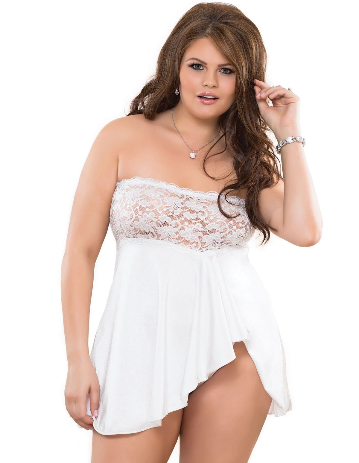 Strapless Lace Babydoll