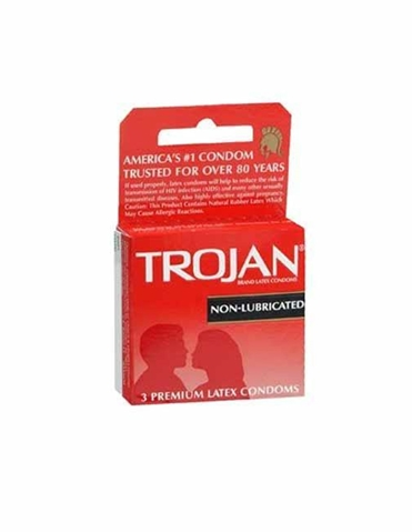 TROJAN NON-LUBRICATED CONDOMS 3 PK