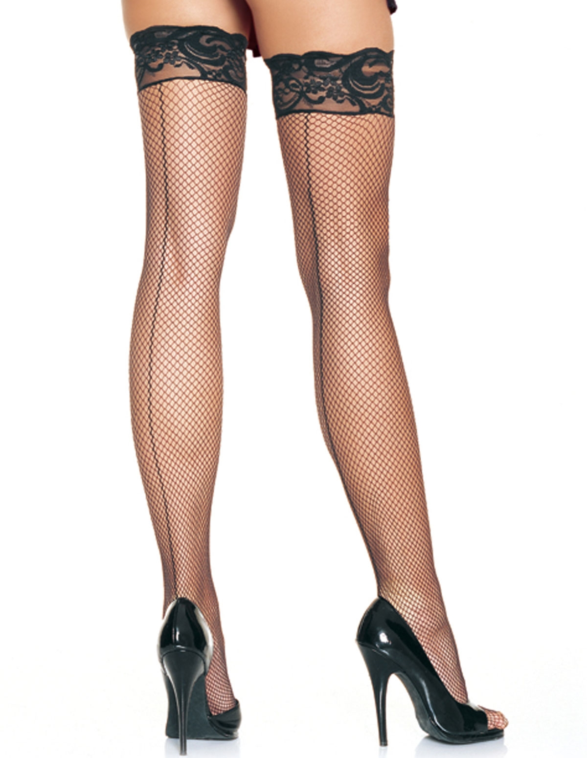 Lace Top Fishnet Thigh High With Backseam