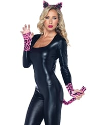 Alternate front view of 3PC NEON LEOPARD COSTUME KIT