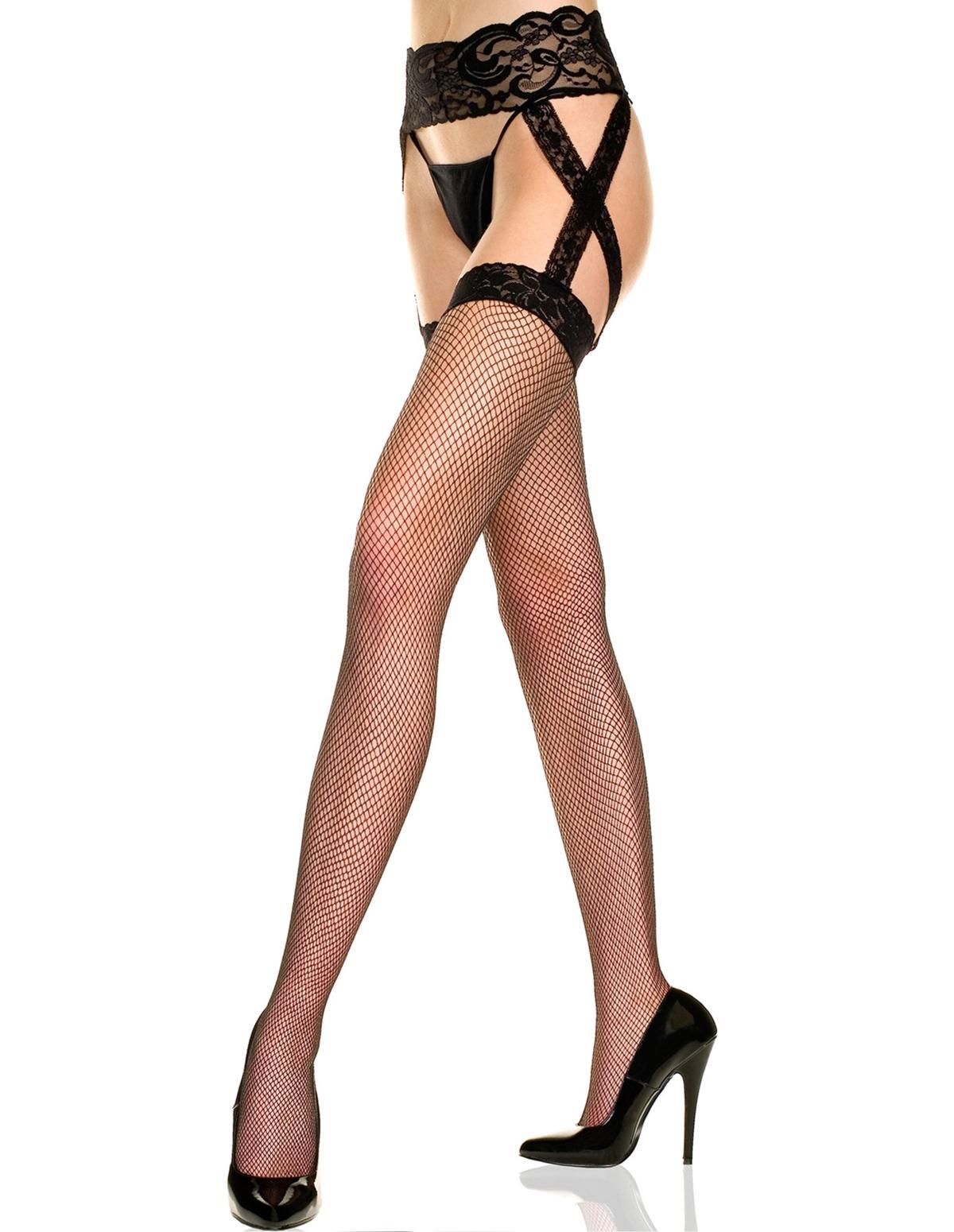 Fishnet Criss Cross Suspender Stockings - Plus