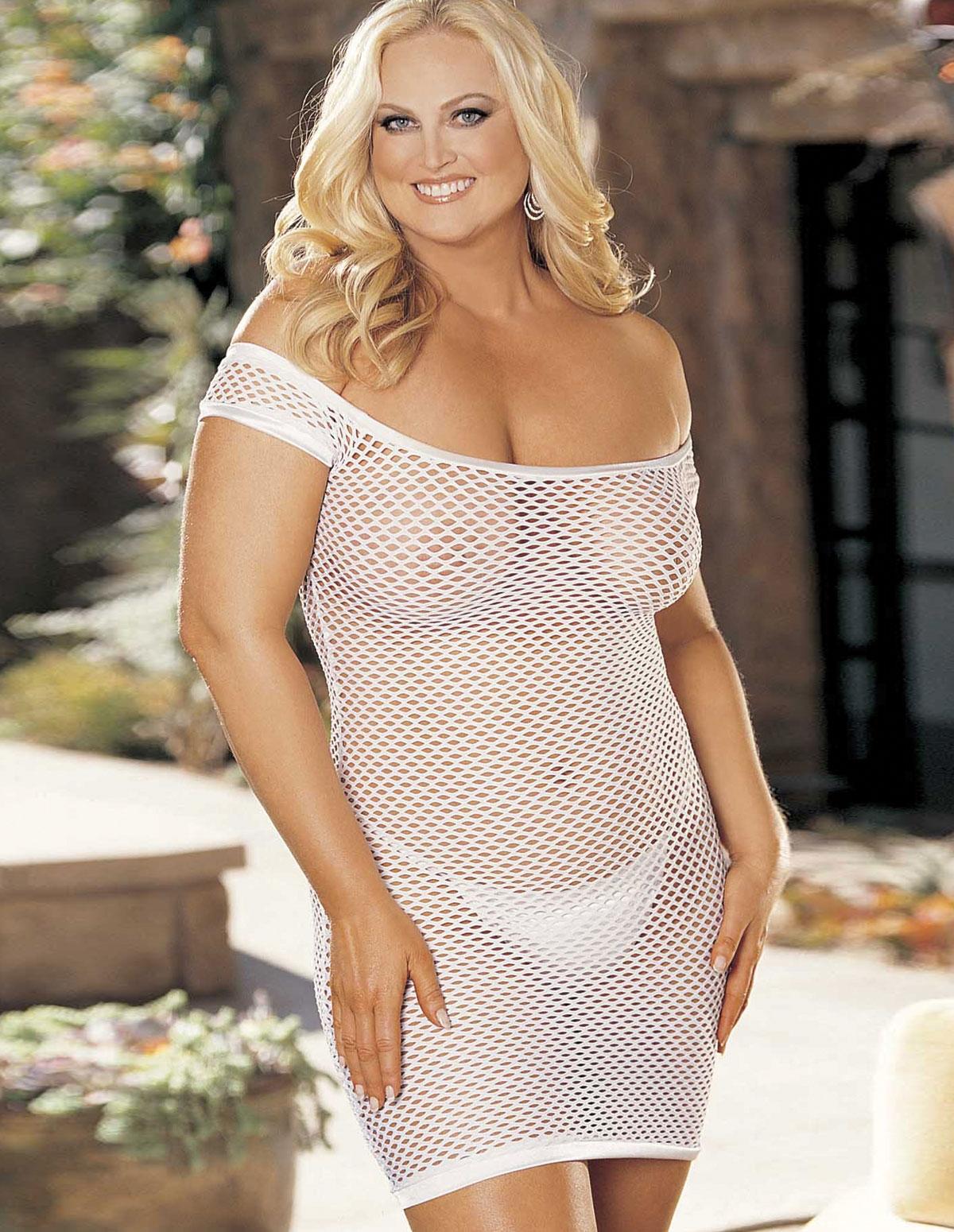 Big Hole Fishnet Dress - Plus
