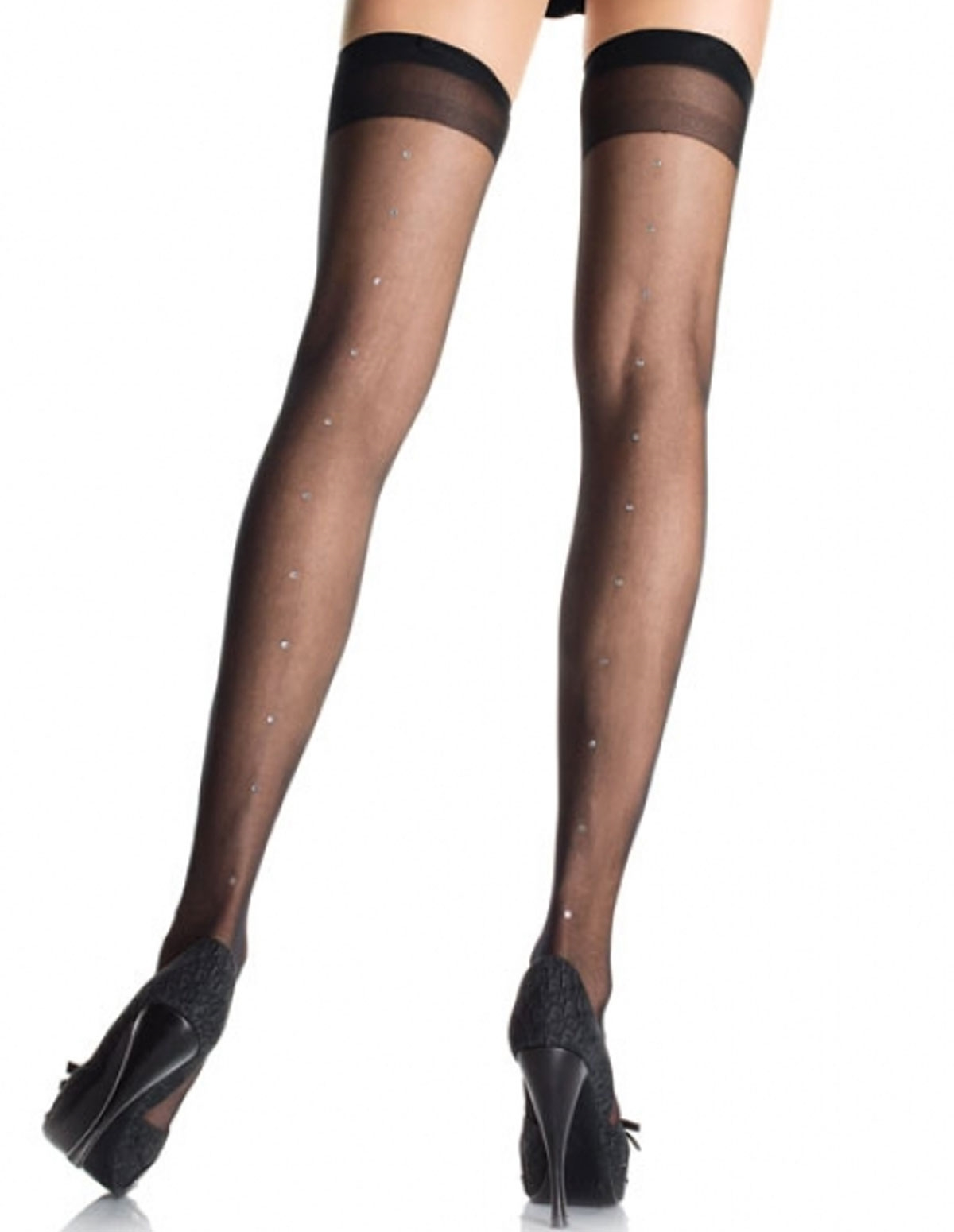 Stone Backseam Thigh High