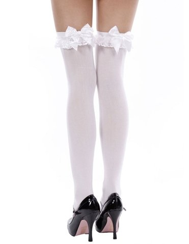 OPAQUE THIGH HIGH WITH BOW - PLUS