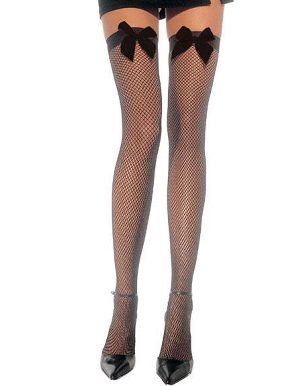 Fishnet Thigh High W/Bow